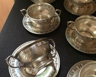 Sterling Bouillon Cups and Saucers