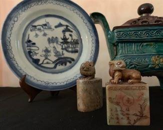 Blue Willow Plates, Shoushan Stone Seals