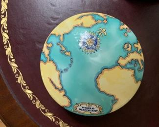 Tiffany Lidded Dish with Map