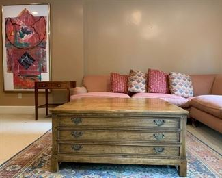 Three Drawer Flat File Style Coffee Table