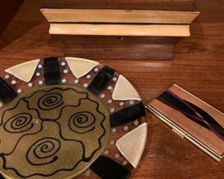 Signed Art Glass Plate, Dovin and Kesler Wood Case