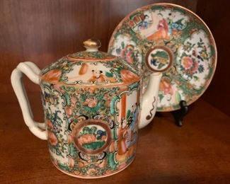 Famille Rose Chinese Tea Pot with Plate