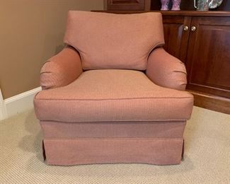 Rudin Swivel Armchair with Ottoman on Casters