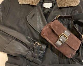 Barney's New York Leather Trench Coat, Barnet's New York Purse