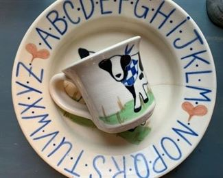 Studio Pottery, Children's Cup and Plate Set