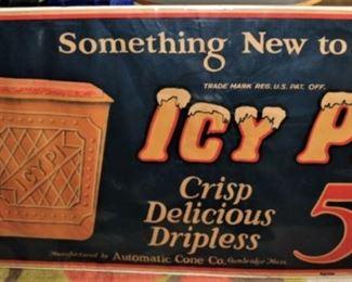 RARE SODA FOUNTAIN ICY PI SIGN ICE CREAM