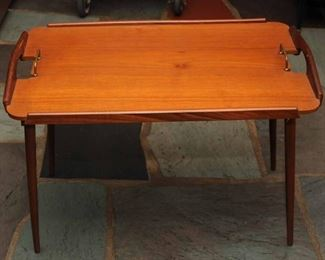 [2] Vintage 1950's Aase Mobler Teak Side Table Tray Table Made in Norway
