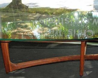 Adrian Pearsall Mid-Century Modern Amorphous Kidney Walnut Glass Coffee Table