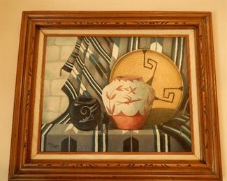 """Original Oil Painting by Arleen Kay Pfeffer """"Concepts in Art"""" (Native American still life)"""