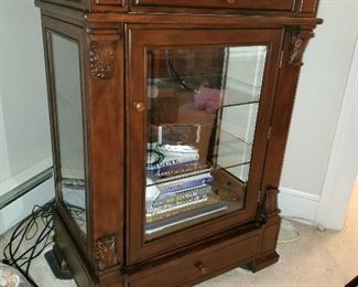 VERY nice glass cabinet for ent center, has glass shelves and upper and lower drawer