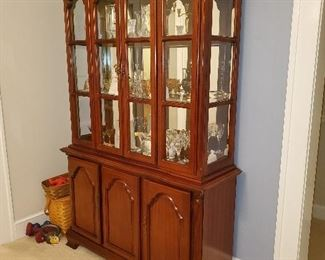 2 piece lighted china cabinet with 2 doors down below