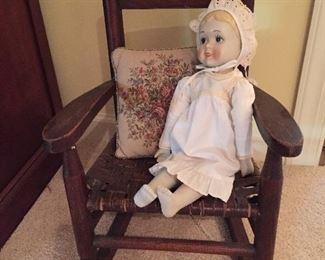 Old Cane Bottom Childs Rocker/Doll