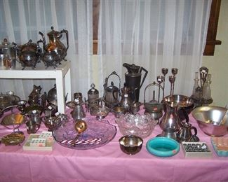 TABLE OF SILVER-PLATED ITEMS, CUT GLASS & MISC.