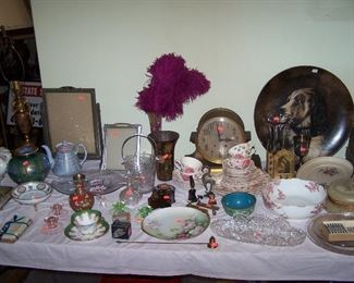 MORE CUT GLASS, HP CHINA, BRASS CLOCK & MISC.