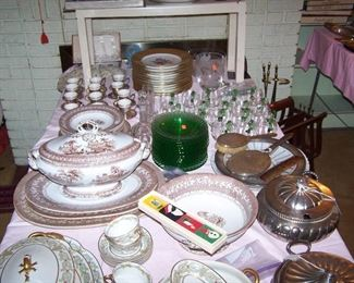 SET OF GOLD-RIM CZECH SERVICE PLATES, SILVER DEMIS WITH LENOX LINERS, BROWN TRANSFER IRONSTONE, COLORED GLASSWARE & MORE
