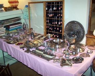 TABLE OF SILVER-PLATE & SILVER ITEMS