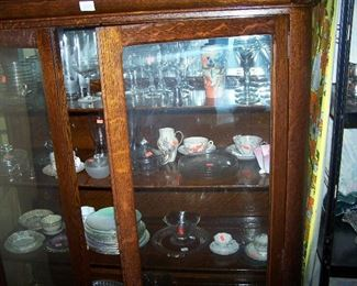 OAK CHINA CABINET--OLD FINISH &  MISC. SMALLS