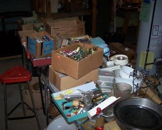 TABLES OF KITCHEN ITEMS & OTHER MISC.