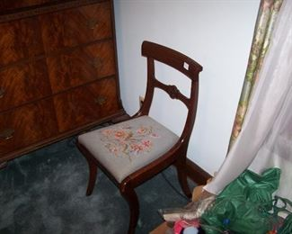 MAHOGANY SIDE CHAIR--NEEDLEPOINT SEAT