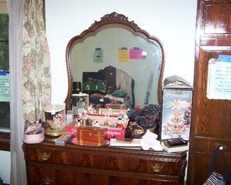 BURLED WALNUT DRESSER & MIRROR & MORE SMALLS