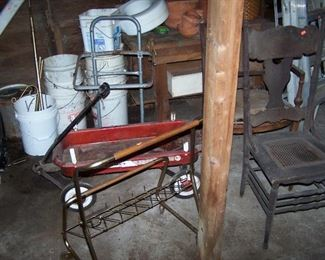 OLD RED WAGON, OLD OAK CHAIR & MORE
