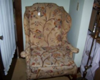 CREWEL-WORK WING CHAIR