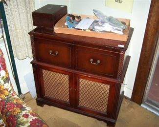 OLD MAHOGANY CABINET--RADIO & RECORD PLAYER ARE NO LONGER IN THE CABINET