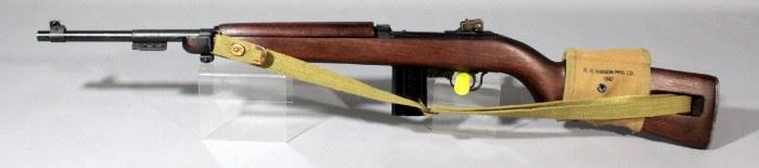 Enfield Plainfield Machine M1 .30 Cal Rifle SN# P207 With Khaki Gun Sling And Mag Holder