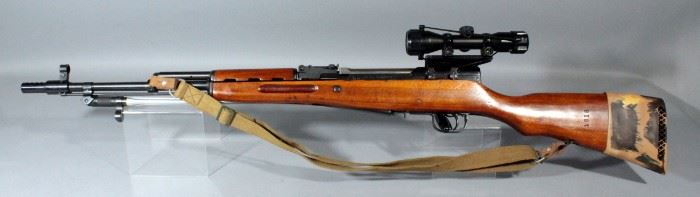 China SKS 7.62x39mm Rifle SN# 2301318A With Leapers 6x32 Scope And Canvas Sling