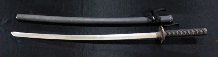 """Samurai Sword With Dragon Embossed HIlt 38.5""""OL WIth Scabbard"""