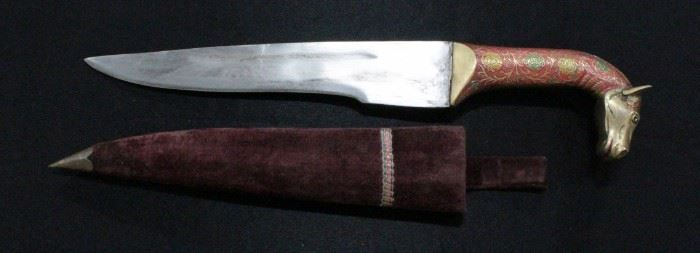 """Knife With Ornate Brass Horse Head Handle 18""""OL With Cloth Covered Sheath"""