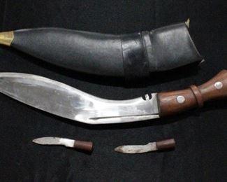 "Kukri Knife With Wood Handle And Wood Sheath 17""OL"