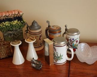 Assortment of Decorative Items Throughout! Steins, Candlesticks, Floral and more.