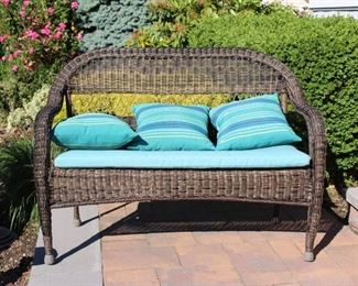 Wicker Settee with Cushion and Pillows