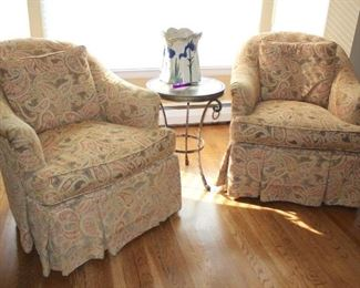 Pair of Upholstered Easy Chairs with Small Metal Round Table and Vase