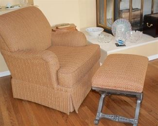 Comfy Easy Chair and Ottoman with Decorative Items