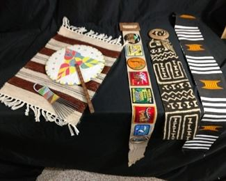 Assorted Tribal Art, Sashes, Belts, and Combs