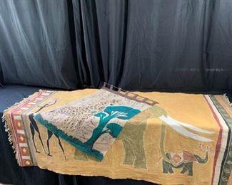 Batik Hand Painted Wall Hanging and Sheet from Botswana