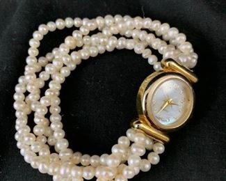 Pearl Band Watch with Mother of Pearl Face