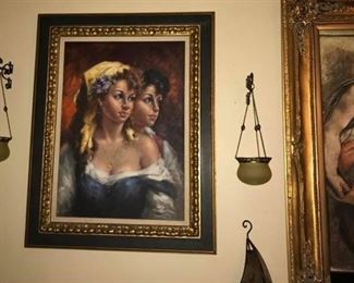 S. HIGLE LARGE GYPSY OIL PAINTING  $225
