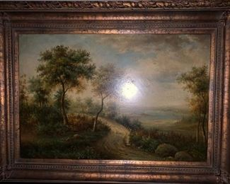 ANTIQUE 4FT LARGE OIL PAINTING SIGNED $240