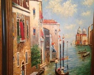 Large framed romantic Italian art by  Gustav