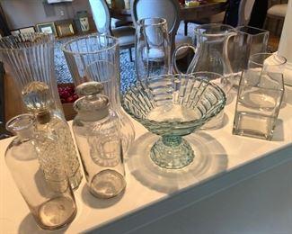 decorative glassware, vases, liquor bottles