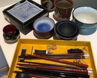 Asian kitchenware, chopsticks, teacups, plates