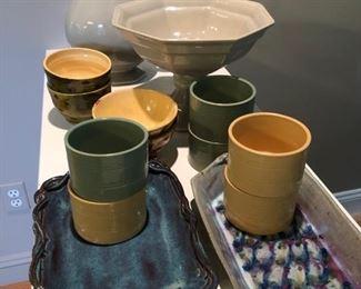 ceramic kitchenware, ramekins, and trays