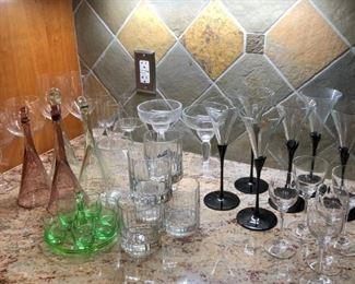 assorted stemware