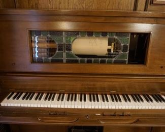 Player Piano with Lots of Music - Works Well!