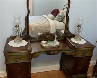 1920's Hand Painted Mahogany Vanity - Has matching bench not pictured