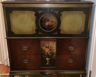 1920's Hand Painted Mahogany Dresser/Secretary - have original key - Made in Rockford, ILL  by The Winnebago Mfg. Co.