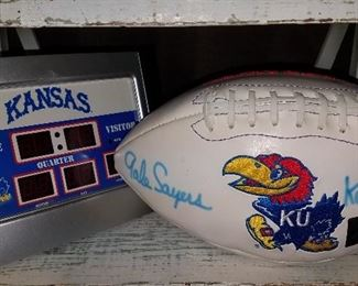 Much, much miscellaneous!! Gale Sayers autographed football along with other K. U., K State and other school items.